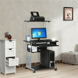 Small Rolling Computer Desk Study Writing Work Table Printer Shelf Home Office $134.99