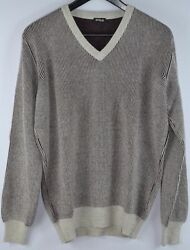 Kiton Mens Purple Gray Stripe Cashmere Thick Knit V-Neck Sweater Size 52 L NEW