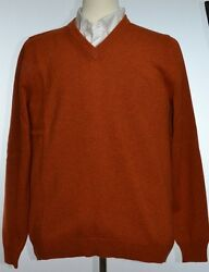 Kiton Mens Fire Orange Think Cashmere Knit V-Neck Sweater Size 56 XXL NEW