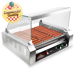 Commercial Electric 30 Hot Dog 11 Roller Grill Cooker Machine 1200 Watt w Cover $219.99