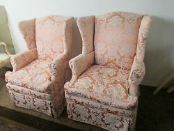 00001 Pair QUALITY Wing Chairs with Goose Down cushions