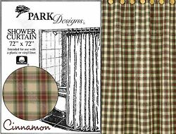 Cinnamon Shower Curtain by Park Designs Wine Green & Beige Plaid 72x72 One