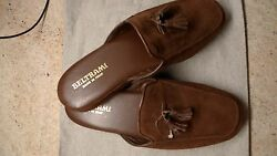 BELTRAMI LUXURY MEN'S SLIPPERS BROWN LEATHER SUEDE ITALY SIZES 429 OR 4310