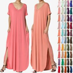 TheMogan Women#x27;s Casual Short Sleeve Jersey Relaxed T Shirt Maxi Long Dress $20.99
