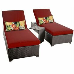 Miseno CLASSIC-2x-ST-TERRACOTTA 3-Piece Outdoor Chaise Lounge Chair Set