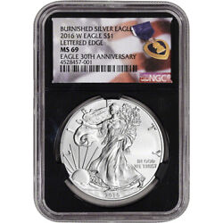 2016 W American Silver Eagle Burnished NGC MS69 Purple Heart Black Holder $54.70