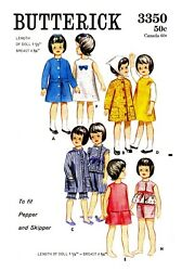 Vintage Butterick Pepper Skipper Doll Clothes Fabric material Sew Pattern # 3350
