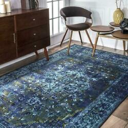 nuLOOM Overdyed Vintage Traditional Distressed Area Rug in Blue $47.99
