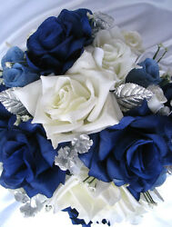 39pc Bridal Bouquet wedding flowers NAVY BLUE WHITE SILVER