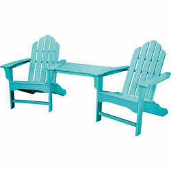 Hanover RIO3PC-AR Rio 3-Piece Polywood Outdoor Bistro Set with Adirondack Chairs