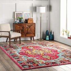 nuLOOM Traditional Vintage Distressed Area Rug in Multi Pink Yellow Blue $41.99