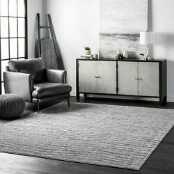 nuLOOM Contemporary Modern Solid and Striped Sherill Area Rug in Gray $62.99