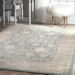 nuLOOM Traditional Vintage Oriental Style Floral Area Rug in Blue Grey $34.99