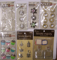 U CHOOSE Assorted Spare Parts BUTTONS CHARMS BOTTLES amp; PHOTO CORNERS bling $3.99