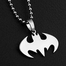 BATMAN NECKLACE Stainless Steel Pendant and Chain Comic Super Hero High Quality