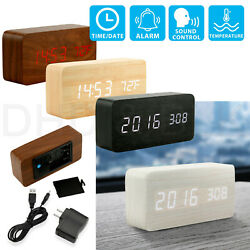 Modern Wooden Wood USBAAA Digital LED Alarm Clock Calendar Thermometer