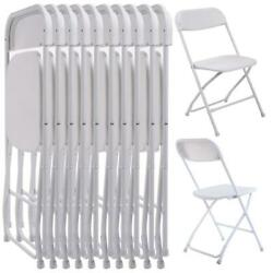 New Set of 10 Plastic Folding Chairs Wedding Party Event Chair Commercial White
