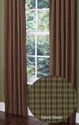 Green Tan & Red Plaid Cabin Panels by Park Designs 2 Sizes Lined wTiebacks