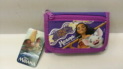 DISNEY MOANA PURPLE GIRL KID TRI FOLD ZIPPED WALLET COIN 100% LICENSED PRODUCT $6.99