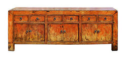 Chinese Distressed Rustic Orange Sideboard Console Table Cabinet cs2746