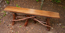 Rustic Walnut Wood Kitchen 6 leg Bench Log Cabin Porch Furniture by J. Wade