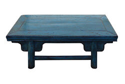 Chinese Distressed Rustic Light Blue Low Kang Table cs2758