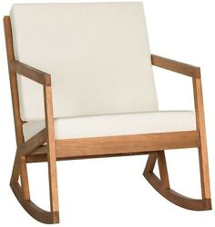 Brown Outdoor Rocking Chair Beige Cushion Weather Resistant Porch Patio Seat NEW