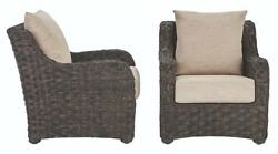 2 PACK Outdoor Wicker Lounge Chair Patio Pool Seat Cushion Weather Resistant Set