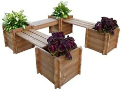 Bench Wood Planter Box Flower Vegetable Raised Garden Bed Outdoor Patio Home NEW