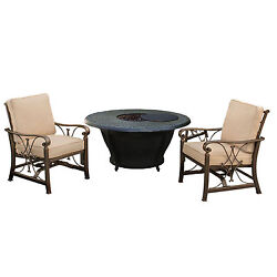 Novelina Round Firepit Table Set with Burner System Fire Beads Weather Cover a