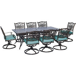 Hanover Outdoor Traditions 9-Piece Dining Set with Eight Swivel Dining Chairs an