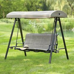 Outdoor Swing Lounge Chair 3 Seat Canopy Padded Sling Bottle Holder Sun Shade