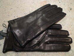 JOHN VARVATOS LAMBSKIN BROWN MEN'S LEATHER GLOVES CASHMERE LINING ITALY SIZE XL