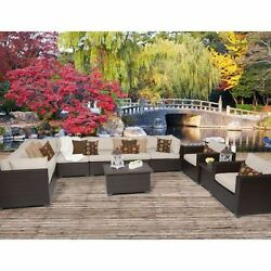 Miseno BELLE-11a-BEIGE Anabelle 11-Piece Outdoor Furniture Sets and Club Chairs
