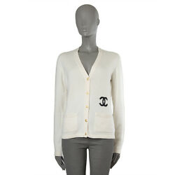 41760 auth CHANEL off-white cashmere Cardigan Sweater 44 XL