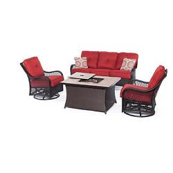 Hanover Outdoor Orleans Autumn Berry 4-piece Woven Lounge Set with Fire Pit