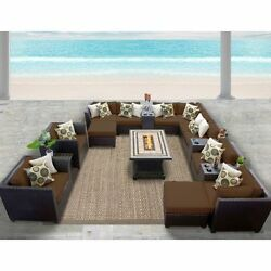 Miseno BARBADOS-17b-COCOA 17-Piece Outdoor Furniture Set wPropane Fire Pit