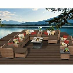 Miseno LAGUNA-17b-COCOA 17-Piece Outdoor Furniture Set wPropane Fire Pit