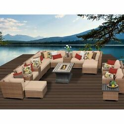 Miseno LAGUNA-17b-WHEAT 17-Piece Outdoor Furniture Set wPropane Fire Pit