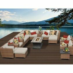 Miseno LAGUNA-17b-BEIGE 17-Piece Outdoor Furniture Set wPropane Fire Pit