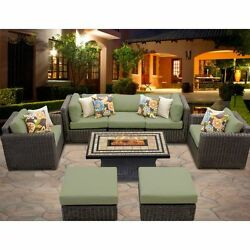 Miseno VENICE-08d-CILANTRO 8-Piece Outdoor Furniture Set with Propane Fire Pit