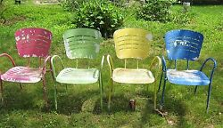 4 USA MID CENTURY RETRO MODERN GAY ALUMINUM METAL TABLE PATIO GARDEN LAWN CHAIRS