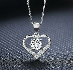 925 Sterling Silver Love Heart Cubic Zirconia CZ Pendant Necklace 18quot; Gift Box