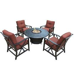Premium Carolton 5-piece Round Firepit Table Chat Set with 4 Cushioned Rocking