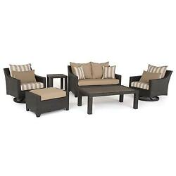 RST Brands Deco Maxim Beige Aluminum 6-piece Love and Deluxe Motion Club Seating
