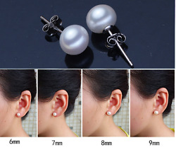 S925 Sterling Silver Genuine Cultured Freshwater 3-12mm Pearl Stud Earrings Gift