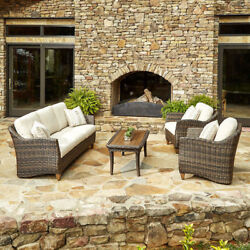 Made to Order Klaussner Outdoor Sycamore 4-piece Brown Wicker Set with