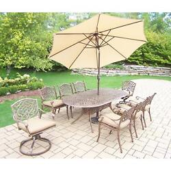 Dakota Outdoor Patio Dining Set with Table 6 Cushioned Chairs 2 Cushioned