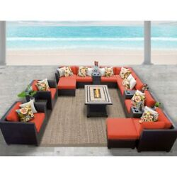 Miseno BARBADOS-17b-TANGERINE 17-Piece Outdoor Furniture Set wPropane Fire Pit