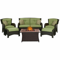 Hanover Outdoor Strathmere 6-Piece Lounge Set In Cilantro Brown